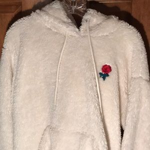 White Fuzzy Hoodie with Rose Patch